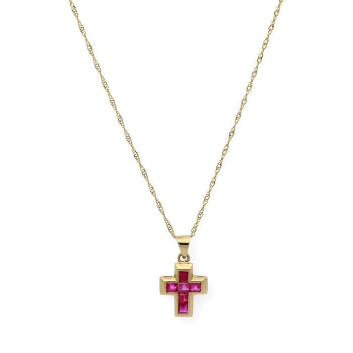 Preview of the first image of 18 kt. Gold - Necklace with pendant - 1.00 ct Ruby.