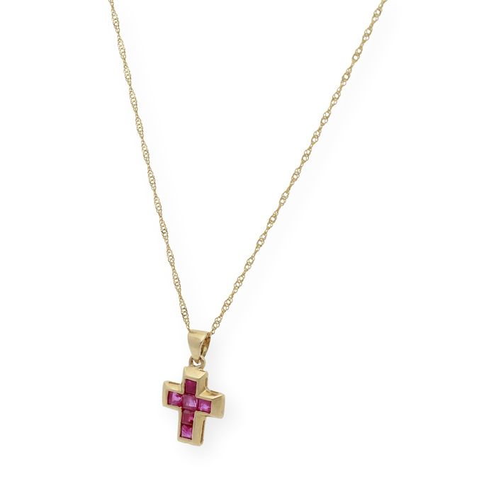 Image 2 of 18 kt. Gold - Necklace with pendant - 1.00 ct Ruby