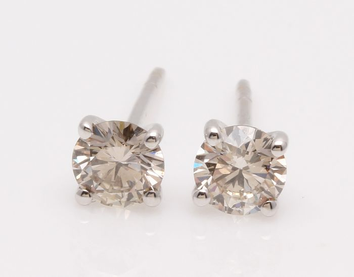 18 carats Or blanc - Boucles d'oreilles - 0.70 ct Diamant