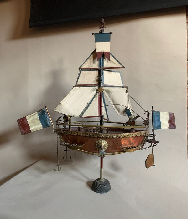 Ship model - Brass, Copper, Iron (cast/wrought), Textiles - Early 20th century