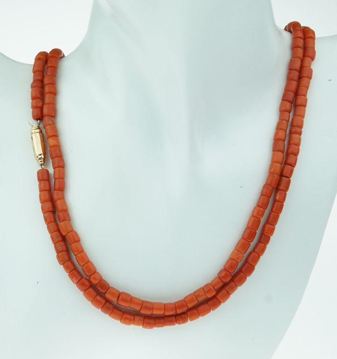 Kaasjes blood coral - 14 kt. Yellow gold - Necklace Blood coral