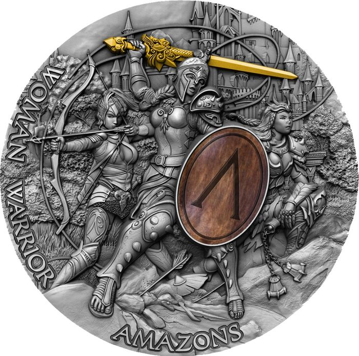 "Niue. 5 Dollars 2019 - ""WOMAN WARRIOR"" Guerriera Amazzone - Amazons - 2 Oz"