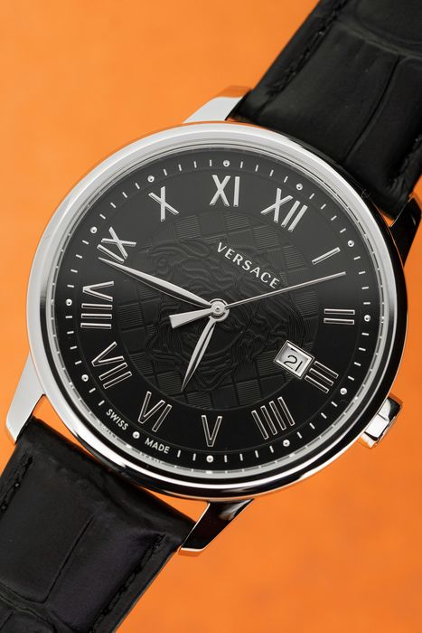 Versace - Business Black Dial Stainless Steel Case Black Leather Strap Swiss Made - VEQS01618 - Unisex - Brand New