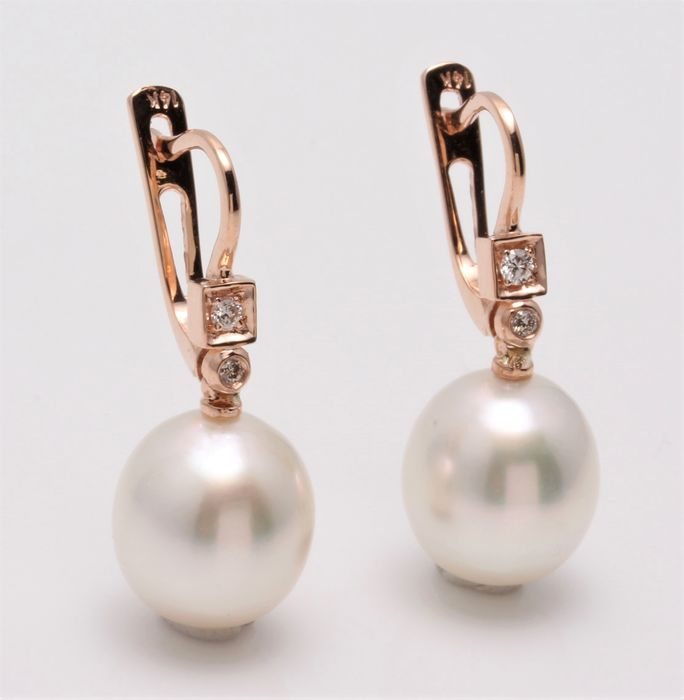 No reserve price - 18 kt. Rose Gold- 10x11mm Champagne White South Sea Pearls - Earrings - 0.07 ct