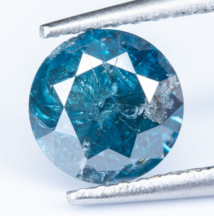 Diamante - 1.12 ct - Fancy Intense Greenish Blue - I2 Colour Treated *NO RESERVE*
