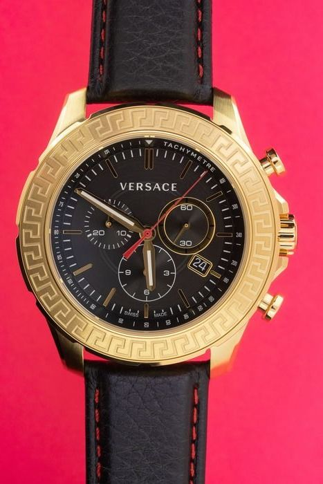 Versace - Chronograph Greca Gold PVD Stainless Steel Case Leather Strap Swiss Made - VE1A00218 - Herren - Brand New