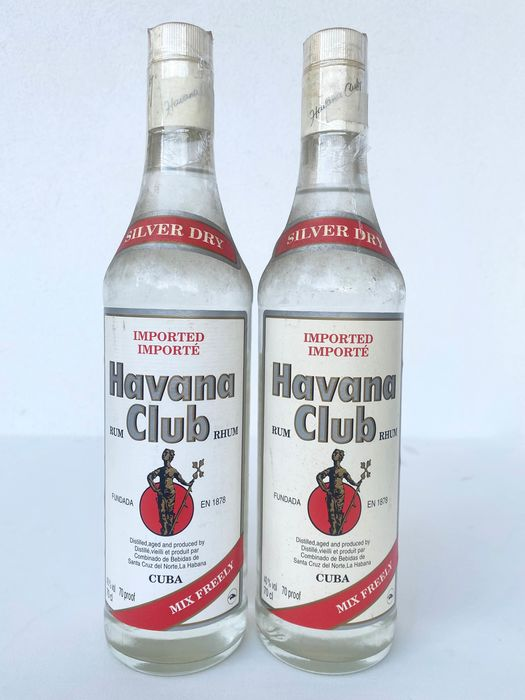 Havana Club - Silver Dry - Mix Freely - b. 1990s - 70cl - 2 bottles
