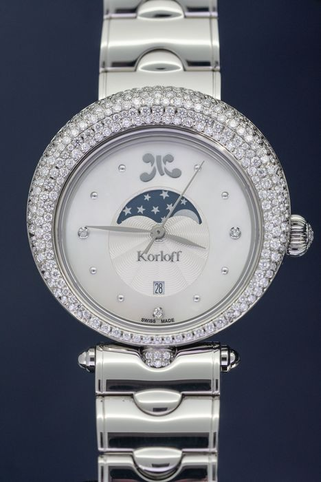 Korloff - Diamonds for 2.15 Carat Automatic Moon Phase Limited Ed Luna Collection Mother of Pearl Swiss Made - LPLW3B - Damen - Brand New