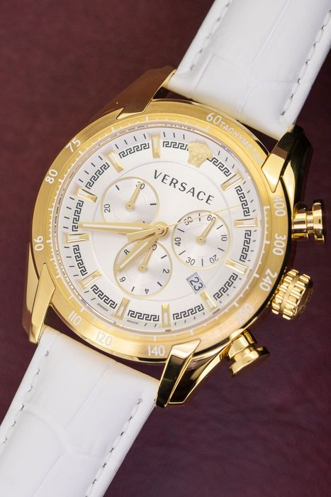 Versace - Chronograph Gold and White leather strap Swiss Made - VEDB00218 - Heren - Brand New