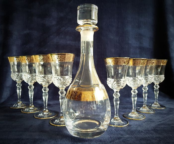Cristal T Murano - Carafe with 4 red wine glasses and 4 white wine glasses. (10) - .999 (24 kt) goud, Kristal