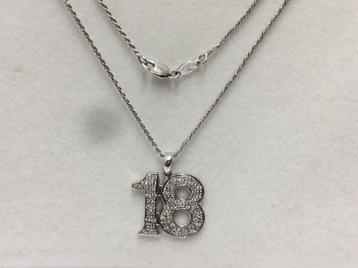 18 kt. White gold - Necklace with pendant - Diamonds