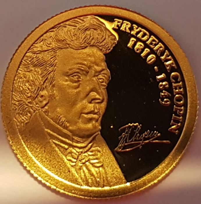 Andorra - 2 Dinar 2009 '160 years of death of Fryderyk Chopin' - with a Certificate of Authenticity - Gold