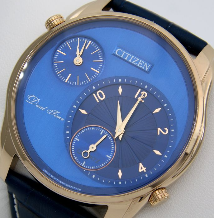 """Citizen - Dual Time Slim """"Blue - Gold"""" --""""NO RESERVE PRICE"""" - Heren - 2019"""
