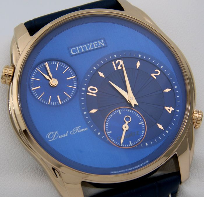 "Citizen - Dual Time Slim ""Blue - Gold"" --""NO RESERVE PRICE"" - Men - 2019"