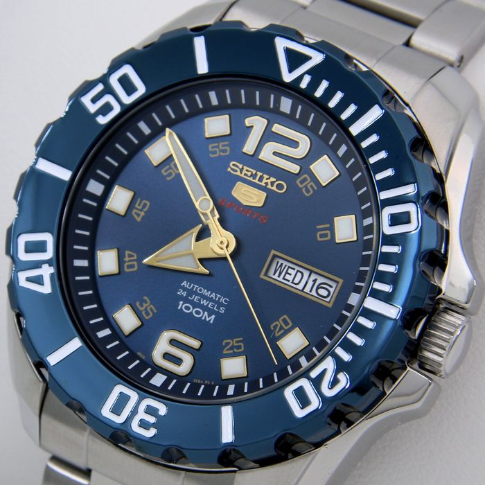 "Seiko - Automatic 24 Jewels ""Blue - Gold Tone"" - - ""NO RESERVE PRICE"" - - Herren - 2019"