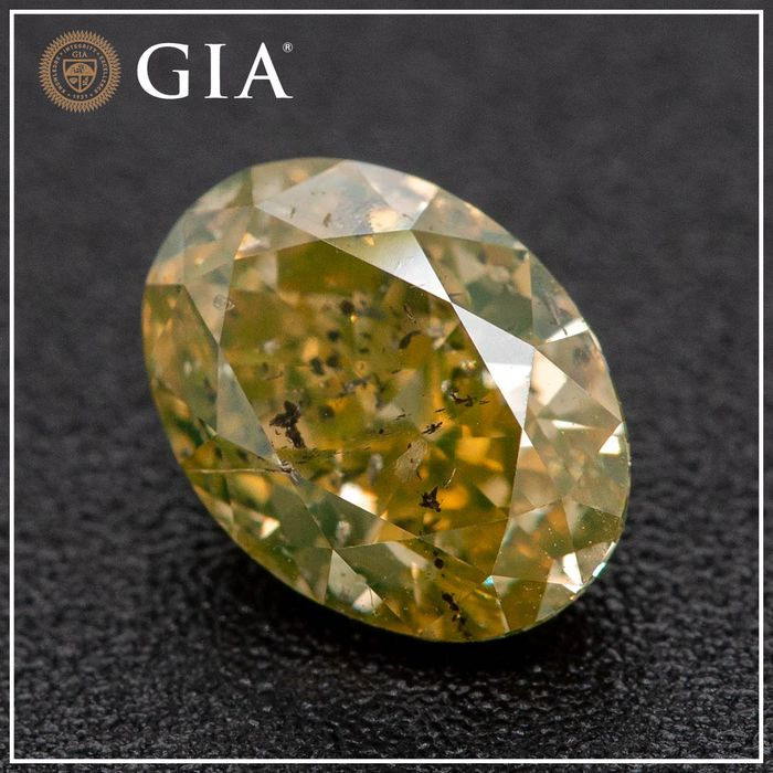 Diamond - 1.31 ct - Oval - fancy deep brownish greenish yellow - GIA - No Reserve Price