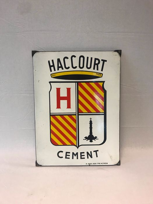Koekelberg Emaille - Haccourt Cement - Reclame bord - Emaille