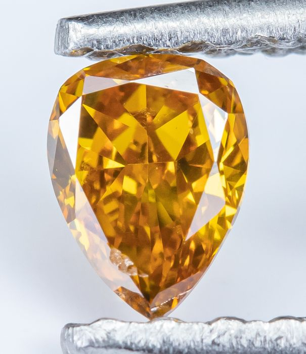 Diamant - 0.16 ct - Naturel Fantaisie Vif Orange Jaune - VS1 *NO RESERVE*