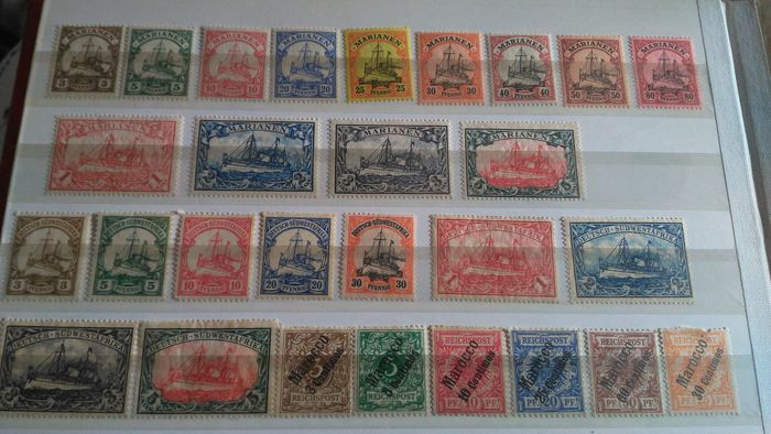 German Colonies - Mariana Islands - German South West Africa, Morocco, lot of 28 stamps.