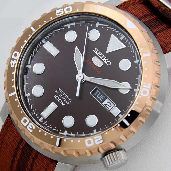"Seiko - Automatic 24 Jewels ""Gold-Brown"" --""NO RESERVE PRICE"" - Herren - 2019"