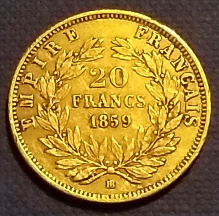 France - 20 Francs 1859-BB Napoléon III - Or