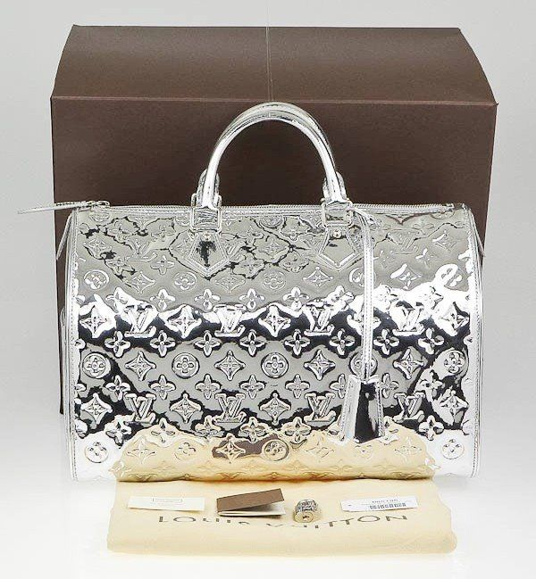 Louis Vuitton - Limited Edition Silver Monogram Miroir Speedy 35 Bag  Handbag