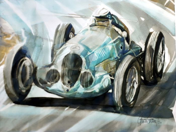 Original watercolor by Gilberto Gaspar - Mercedes Benz W125 de 1937 - Mercedes-Benz - Posterior a 2000