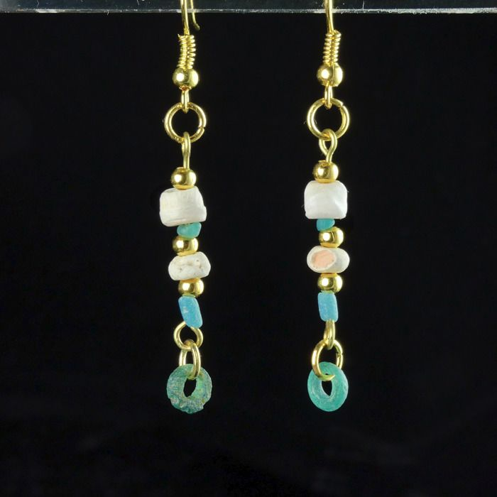 Ancient Roman Glass Earrings with turquoise glass and shell beads - (1)