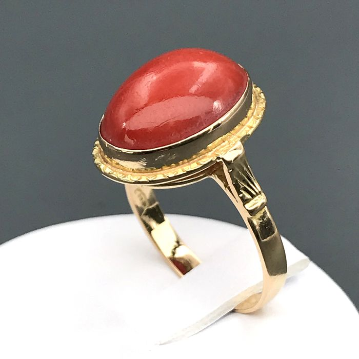 18 kt Gelbgold, Corallo - Ring
