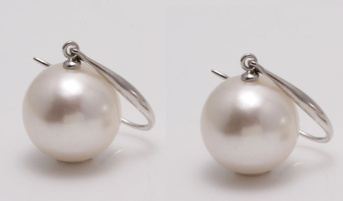 No reserve price - 14 kt. White Gold - 10x11mm Round Edison Pearls - Earrings