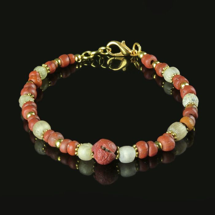 Ancient Roman Glass Bracelet with red glass beads - (1)
