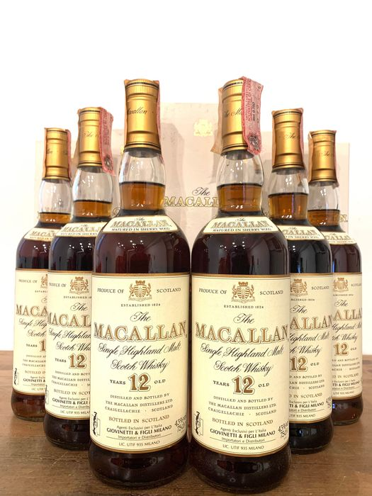 Macallan 12 years old Single Highland Malt Scotch Whisky - Giovinetti Import - b. appr. 1990 - 75 cl - 6 botellas