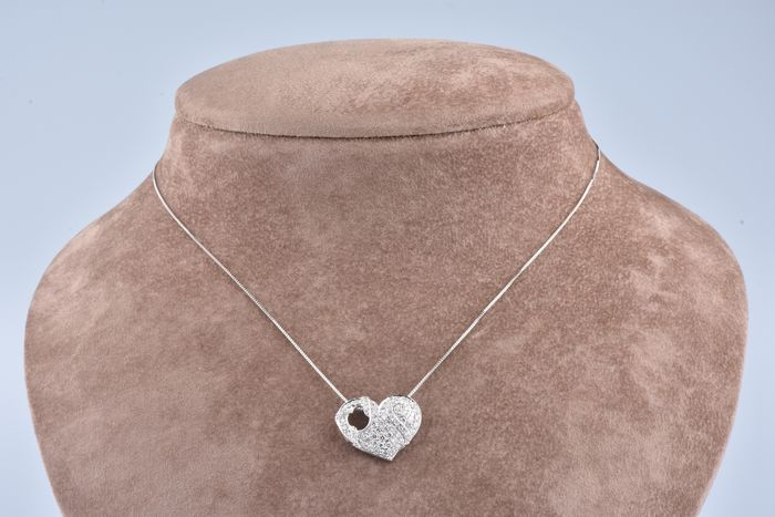 18 kt. White gold - Necklace with pendant - 1.00 ct Diamond