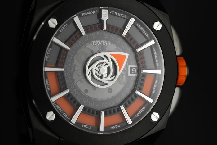 DWISS - Limited Edition Automatic Mysterious Time Collection Orange with IP Black Stainless Steel Swiss Made - RS1-BO - Men - Brand New