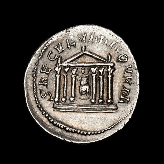 Roman Empire - Antoninianus - Philip I (244-249 A.D.) SAECVLVM NOVVM, Hexastyle temple with statue of Roma. - Silver