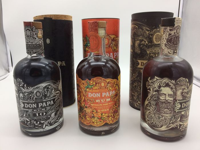 "Don Papa - 10 years old - Sevillana ""Limited Edition"" -  Rare Cask batch 2 - 70cl - 3 flessen"