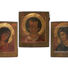 Icon, rare tripartite Angel Deesis from the 17th / 18th century (3) - Wood - Early 18th century