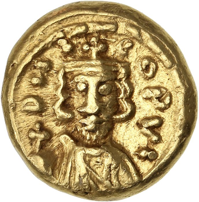 Empire byzantin - AV Solidus, Constantine IV Pogonatus, with Heraclius and Tiberius (AD 668-685). Carthage  - Or