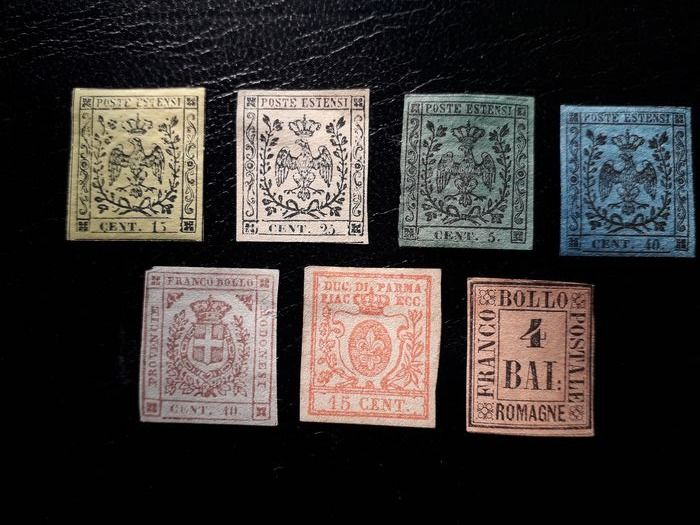 Módena Parma y Romagne 1852/1859 - Small lot of stamps - Sassone Modena NN. 3, 4, 7, 10, 17;  Parma N. 9;  Romagne N. 5