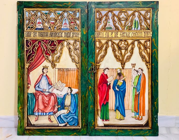 Diptych Alfonso X dictating the Cantigas de Santa María - Medieval - Painting on wood