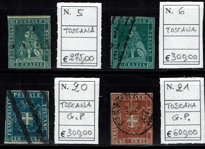 Toscana 1851/1860 - Lot of 4 stamps, 1st issue 2 and 4 crazie; Provisional Government 20 and 40 cents - Sassone N. 5, 6, 20, 21