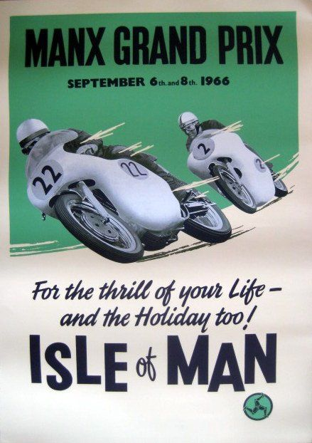 Rare Race Print - Isle of Man - Manx Grand Prix September 6th and 8th 1966 - 1960-1970