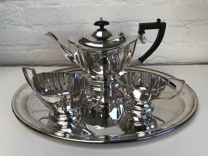 Chippendale - 4-piece silver-plated Chippendale tea set - Silverplate, EPNS