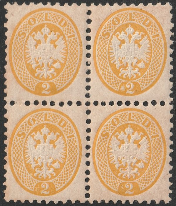 Lombardo Veneto - 2 soldi yellow perforation 9 1/2, block of four with good centring with variety - Sassone N. 41 + VAR