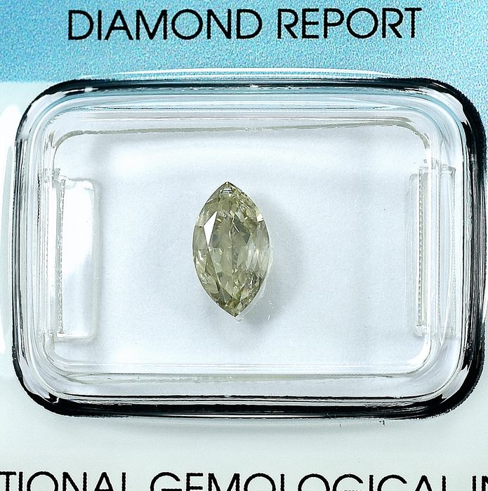 Diamond - 0.99 ct - markizowy - S-T,Light Brown-Yellow - I1 (z inkluzjami)