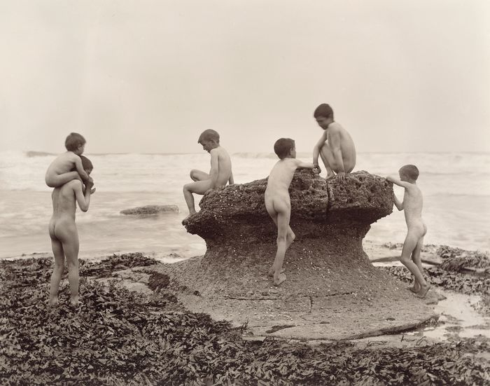 Frank Meadow Sutcliffe (1853-1941) - 'Sea Urchins', Group of nude young boys at seaside, ca.1900.