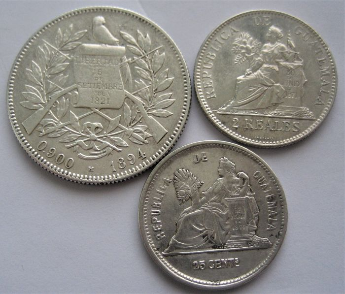 Guatemala - 4 Reales 1894 H , 2 Reales 1898 and 25 Centavos 1891  - Zilver