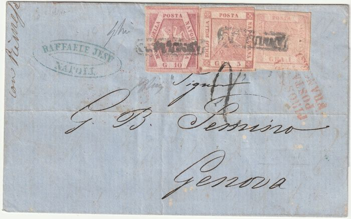 Italiaanse oude staten - Napels 1860 - 1, 5, 10 gr. tricolour postage on letter from Naples Via di Mare to Genoa - Sassone N. 3, 9, 11