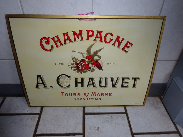 Max Sidaine - Advertising plate A. Chouvet Champagne - Plasticized cardboard