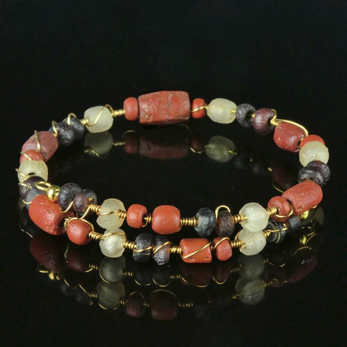 Ancient Roman Glass Bracelet with red and purple glass beads - (1)
